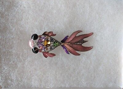 Austrian Crystal Whimsical Goldfish Brooch Lead Nickel Free Brand New