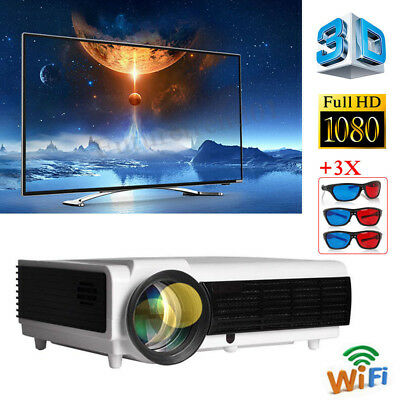 Wifi HDMI AV/USB/VGA HD rj45 5000 LX 1080P 3D proyector Home Theater LCD LED96+