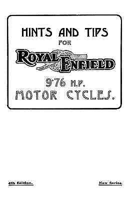 1929 Royal Enfield 9.76 h.p. Model 182 instruction book