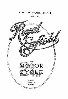 1920's Royal Enfield 2 3/4 hp parts list