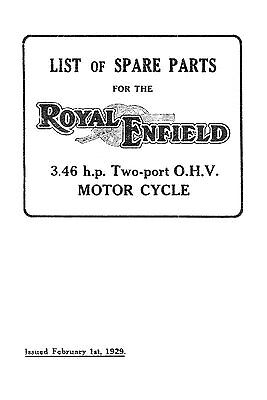 1929 Royal Enfield 3.46hp Two-port OHV parts book
