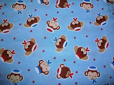 Puppy & Monkey Sailors Novelty Cotton Quilt Fabric
