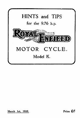 (0960) 1935 Royal Enfield 'K' 9.76hp instruction book