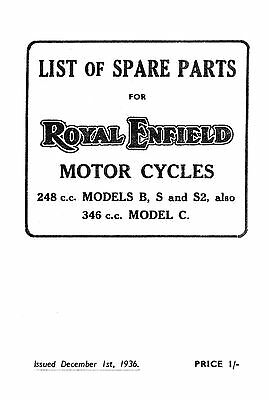 (0963) 1936 Royal Enfield B S S2 & 346cc model C parts book