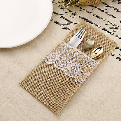 Burlap Cutlery Holder Hessian Pouch Rustic Wedding Party Decor Bag 8pcs