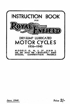 1936-1940 Royal Enfield G H J JF L Bullets & Comp. instruction book