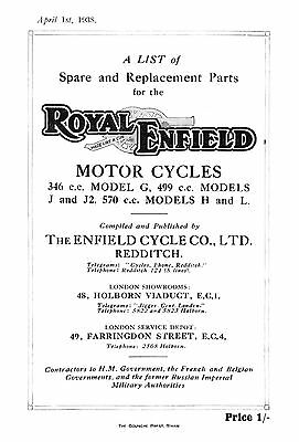 1938 Royal Enfield G J J2 H L parts book