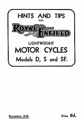 (0970) 1938 Royal Enfield D S SF instruction book