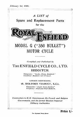 (0972) 1939 Royal Enfield G (350 Bullet) parts book