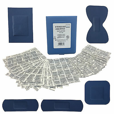 Steroplast Sterochef Premium Thin Blue Catering First Aid 100 Assorted Plasters