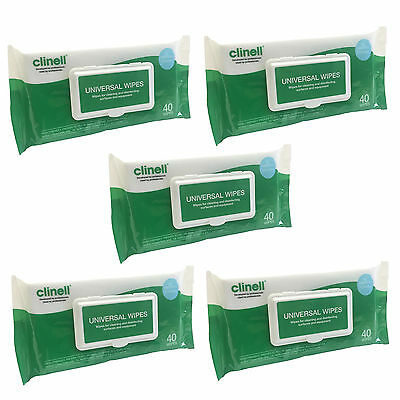 Clinell Five Pack Universal Surface Medical Disinfection Cleaning 40 Wipes