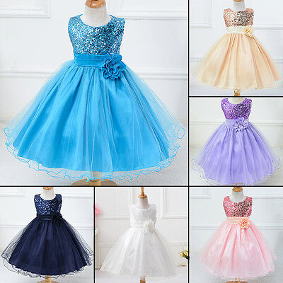 Flower Girl Pageant Party Wedding Bridesmaid Princess Formal Sequins Dress NewSA