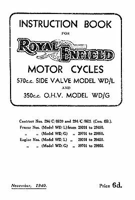 1940 Royal Enfield WD model WD/L & WD/G instruction book