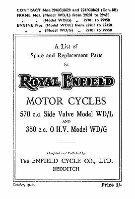 1940 Royal Enfield WD model WD/L & WD/G parts book