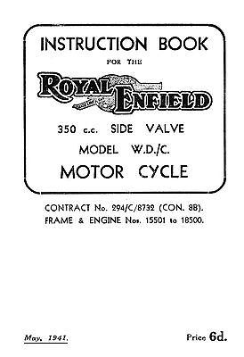 (0980) 1941 Royal Enfield WD model WD/C instruction book