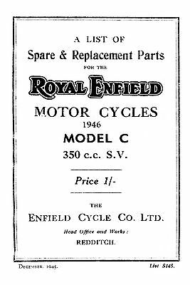 1946 Royal Enfield model C parts book