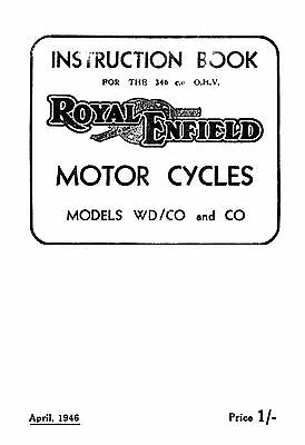 1946 Royal Enfield WD model WD/CO & CO instruction book