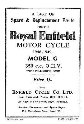 1946-1949 Royal Enfield model G parts book
