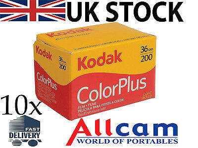 10 Pack: Kodak Colorplus 200 35mm 36 Exposures Color Negative Film, New