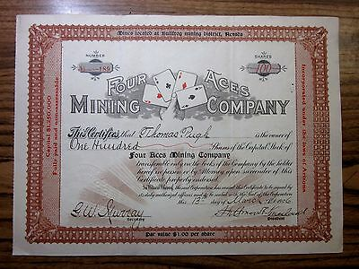 1906 Stock Certificate ✪ Four Aces Mining Company ✪ Bullfrog Nevada ◢Trusted◣