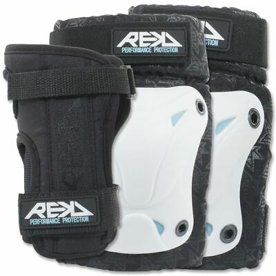 Rekd Pads Knee/Elbow/Wrist Skateboard/Scooter/Derby/Quad/Ice Skate - White/Black