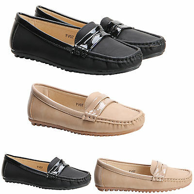 New Womens Ladies Slip On Loafers Moccasin Ballet Dolly Office Pumps Shoes Size