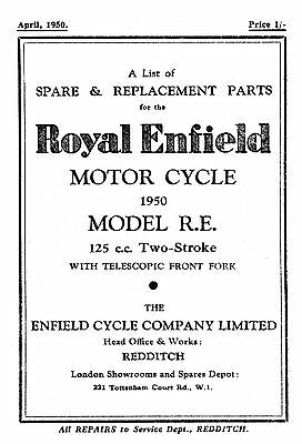 1950 Royal Enfield 'RE' Model parts list