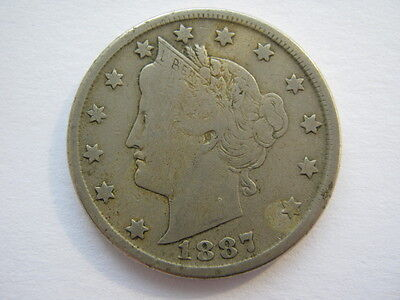 United States 1887 Nickel 5 Cents F