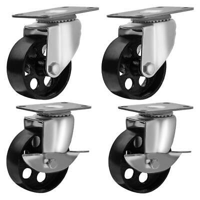 """Set of 4 All Steel Swivel Plate Casters and 2 with Brake Lock 3"""" Wheel 1300lb"""