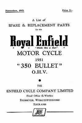 1951 Royal Enfield 350cc Bullet parts book