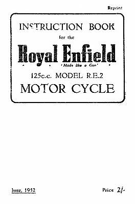 (1000) 1951-1952 Royal Enfield R.E.Model instruction book