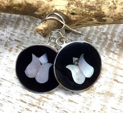 EARRINGS Mexico Sterling Silver Plated Mother of Pearl Tulip Black Round Design