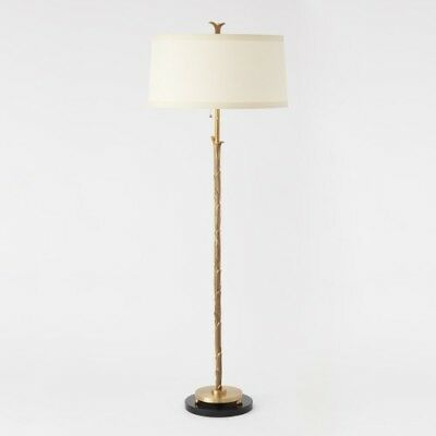 """Overall: 22"""" Round Organic Floor Lamp Antique Brass Finish Scalloped Leaf Detail"""