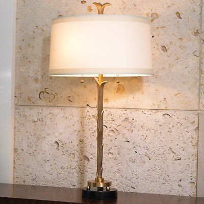 """Overall: 17"""" Round Organic Table Lamp Antique Brass Finish Scalloped Leaf Detail"""