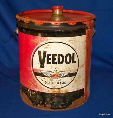 Vintage VEEDOL Oil & Grease 5 Gallon Oil Can Metal #208 Circa 1950s/60s