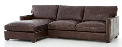 """110"""" L Two piece sectional vintage brown top grain leather wood frame hand made"""