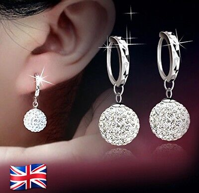 Ladies 925 Sterling Silver Crystal Disco Ball Hoop Drop Dangle Earrings Jewelry
