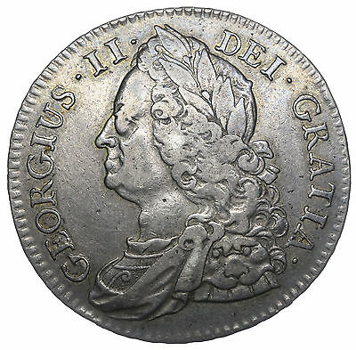 1745 Halfcrown (Roses In Angles) - George Ii British Silver Coin - V Nice