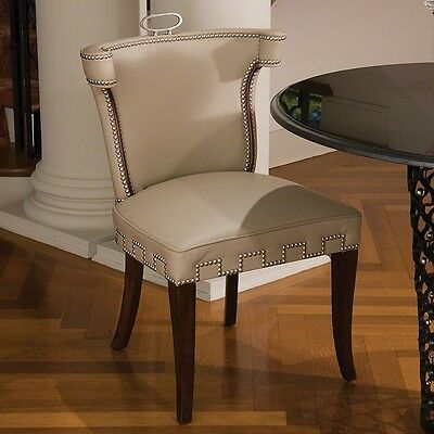 "32"" Tall Dining Chair Solid Wood Beige Leather Brass Nail Head Detail"