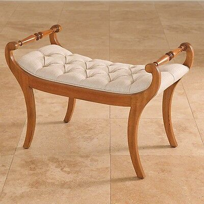 "31"" Long Bench Solid Hardwood Mahogany Frame Woven Linen Fabric Classic Modern"