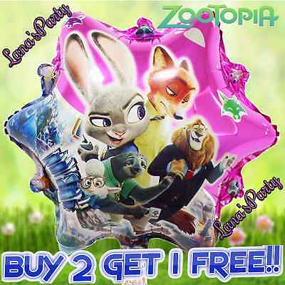 6PC Disney ZOOTOPIA 18 Mylar BALLOON Zoo Birthday Party Supplies Decorations