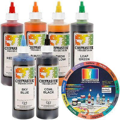 6 Color Chefmaster Liqua-Gel Cake Coloring Set, 10.5 oz. Kit by US Cake Supply