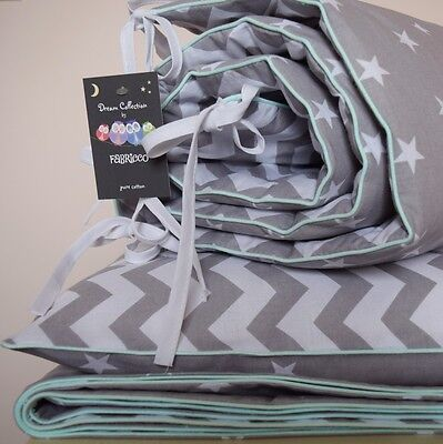 100%COTTON Cot Bed Duvet Cover Set & Bumper Grey Stars Chevron bedding Baby
