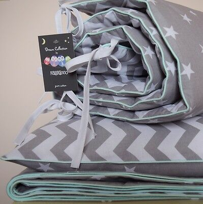 COTTON Cot Bed Duvet Cover Set & Bumper Grey Stars Chevron bedding Baby