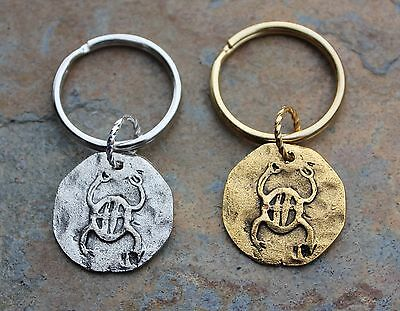Ancient Scarab Coin Key Chain -Gold or Silver Key Ring with Pewter Egyptian Disc