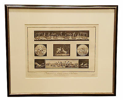 Engraving of Herculaneum paintings very old and rare print 16th century framed