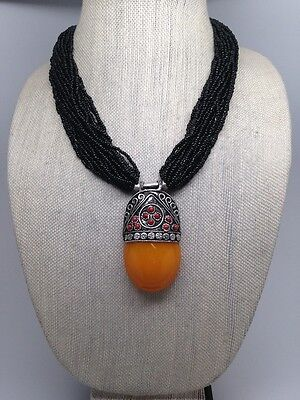 111 Grams Nepalese tribal Yellow Amber Inlay Multi Strands Black Bead Necklace 2
