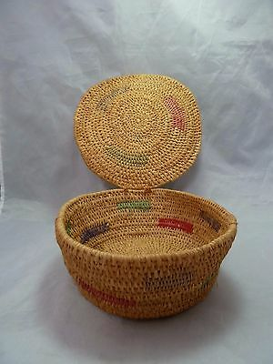"Native American Weave Basket Bowl w Lid. Nice Design. Approx 7.75"" W x 3.25"" T"