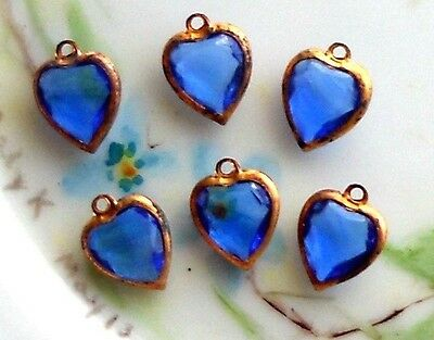 #1628 Vintage Heart Charms Sapphire Rhinestone Gold Tone Drops Glass Bezel Set