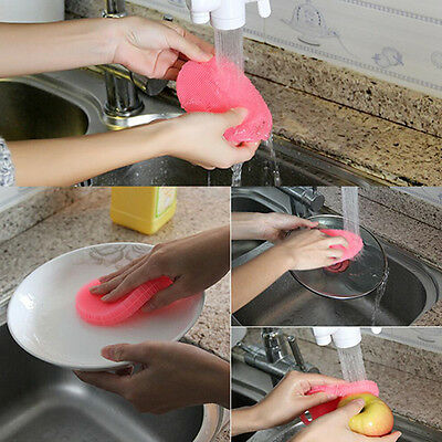 New Multi-function Soft Silicone Dish Washing Cleaning Brush Kitchen Gadgets